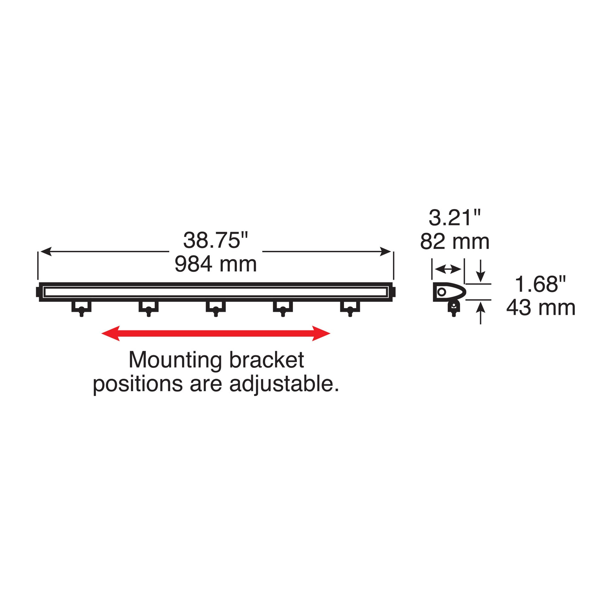 "LED,LGT BAR RCT,SGL RW FLD 13300 LM 38.75X1.68"" MV"