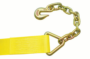 "4"" WINCH STRAP WITH #317 18"" CHAIN ANCHOR - 27FT"