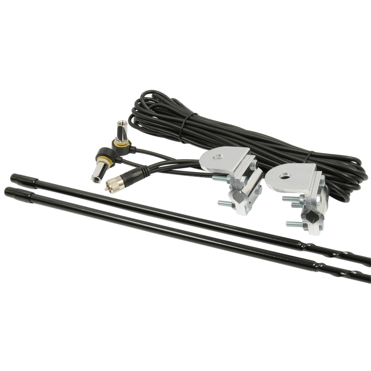 3' Platinum Series Dual Mirror Mount CB Antenna Kit, 1000W Black