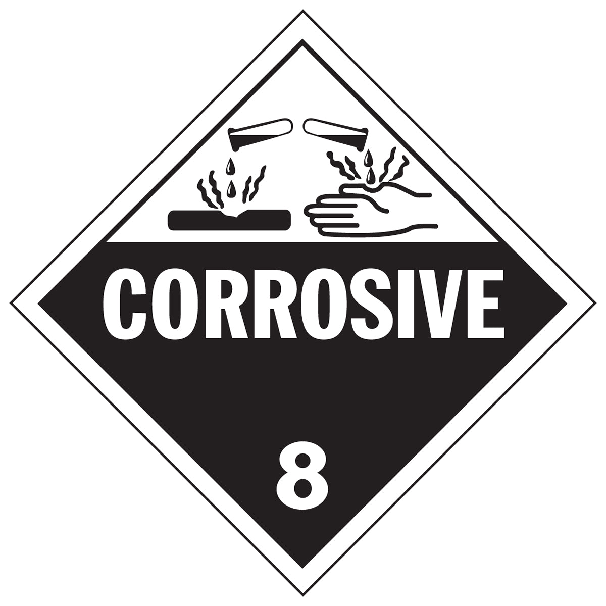 """Corrosive"" Class 8 Placard"