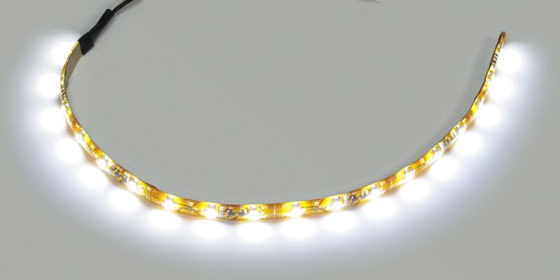 "LED WHT STRIP LGT 12""LD WIRES ONE END"