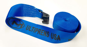 "Winch Strap - 4"" x 30' with #215 Flat Hook - Blue"