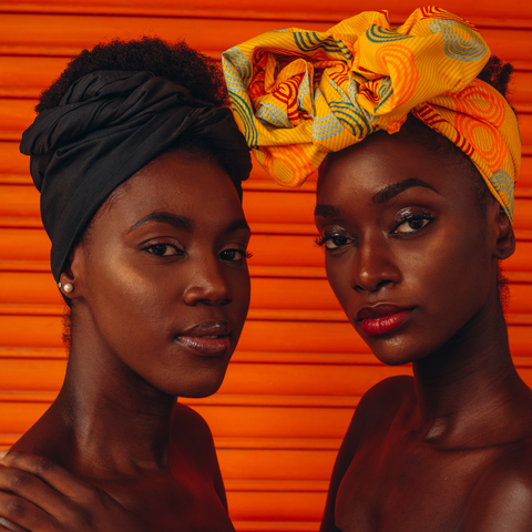 black and yellow, green headwraps