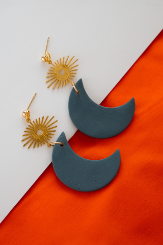Sun and Moon Clay Earrings
