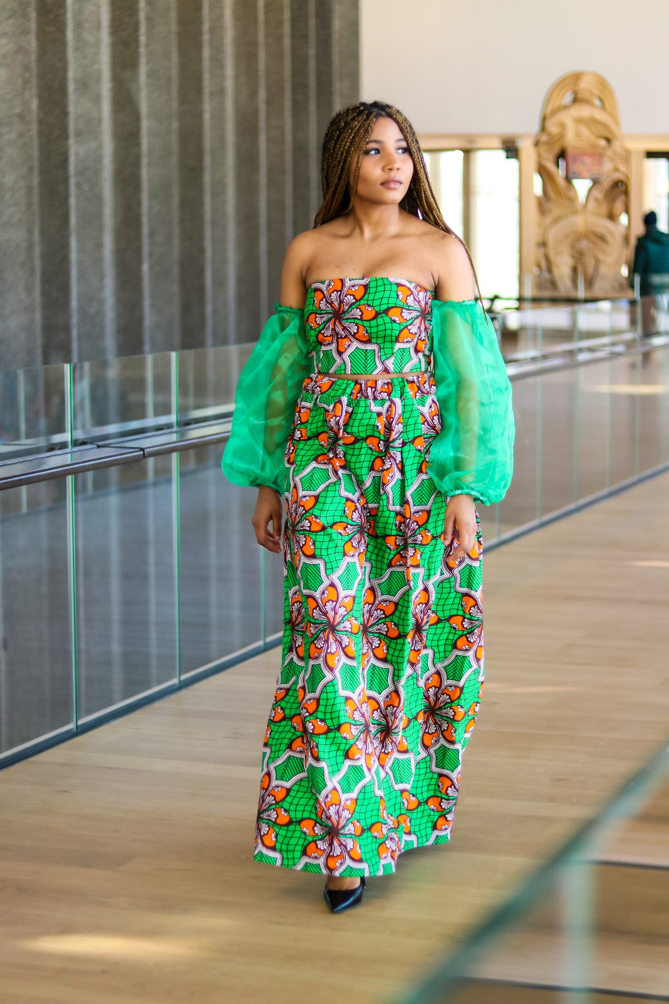Green Leaf Maxi High Slit Skirt