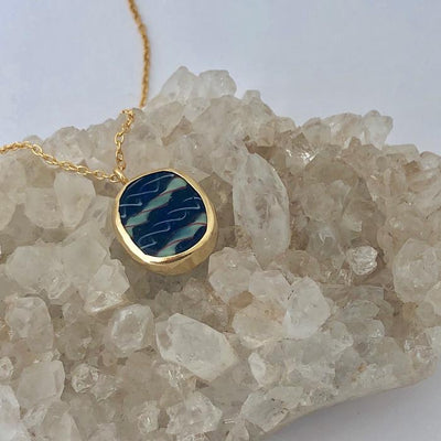 FAIRTRADE BEZELED PENDANT BLUE GLASS