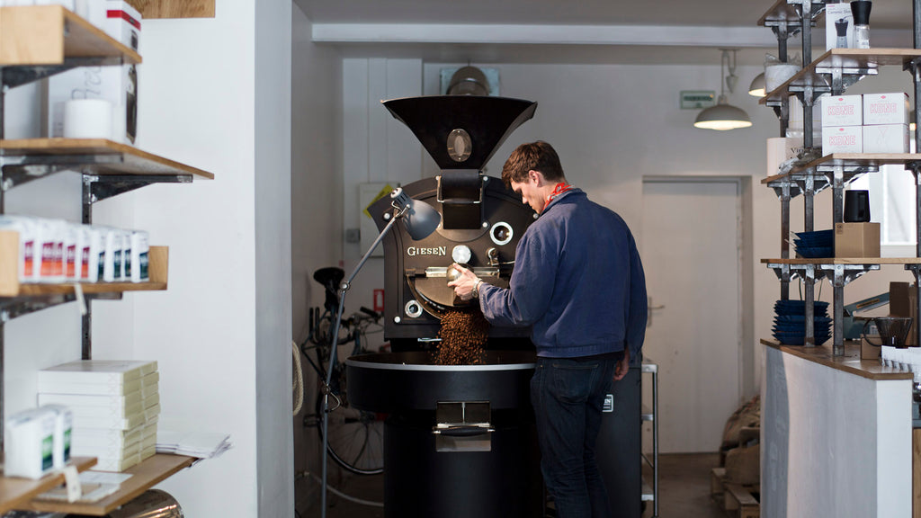 David Nigel Flynn of Belleville Brûlerie in Paris photographed for 'Roasteries', 2014.