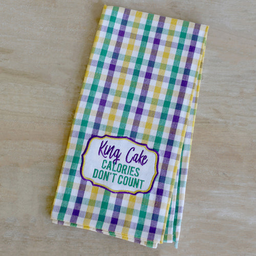 King Cake Calories Don't Count Gingham Hand Towel