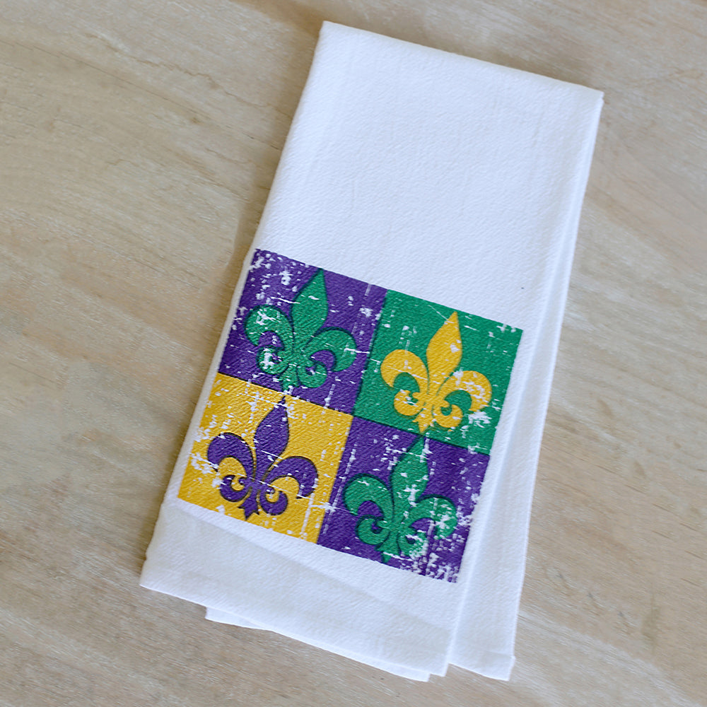 Fleur De Lis Block of Four Flour Sack Hand Towel