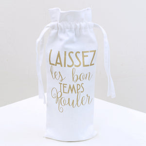 Laissez Les Bon Temps Rouler Wine Bag in White