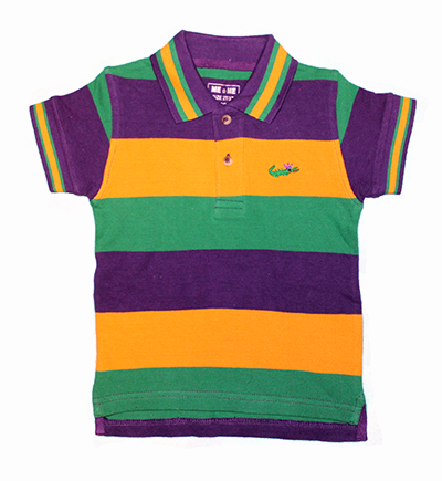 Mardi Gras Polo Short Sleeve Shirt with Crown Logo - Infant