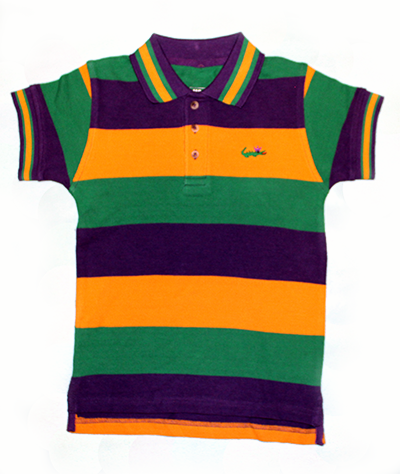 Mardi Gras Polo Short Sleeve Shirt with Crown Logo - Youth