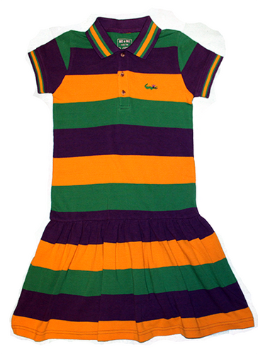 Mardi Gras Polo Short Sleeve Dress with Crown Logo - Youth