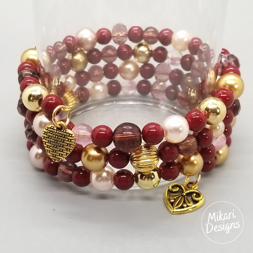 Burgundy & Blush Memory Wire Bracelet