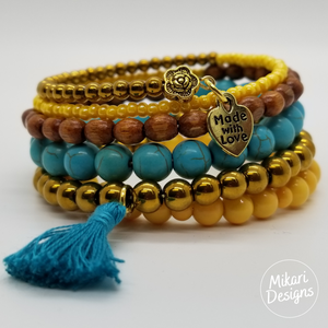 Citron And Turquoise Memory Wire Bracelet