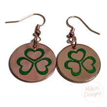 Load image into Gallery viewer, Shamrock Heart Rose Gold Earrings