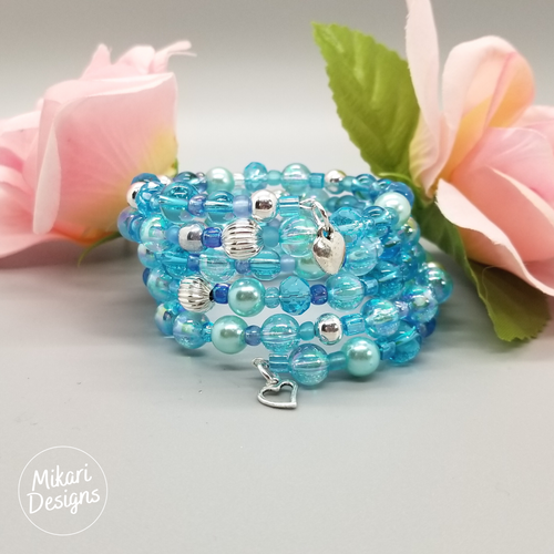 Aqua Mermaid Memory Wire Bracelet