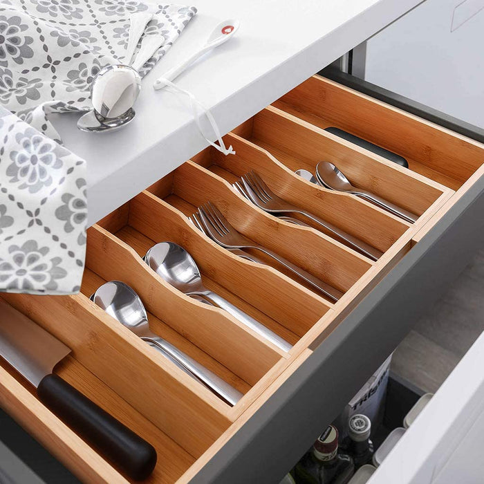 "MOSONIC Bamboo Drawer Organizer (9 Slots, 2.5"" Deep)"