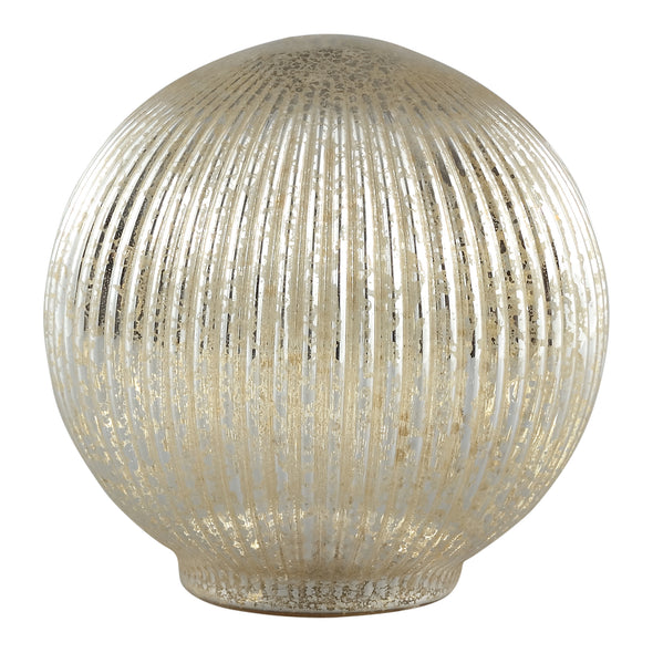 Abigail gold Glass ribbed ball statue with LED