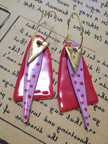 Red pink and gold multi dangle