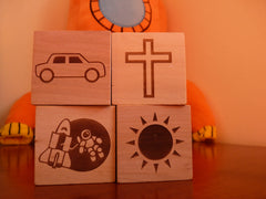 Pictures on personalised baby blocks