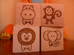 Wooden building block animals