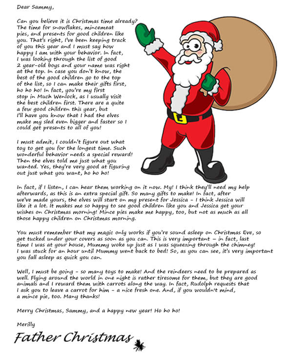 Free personalised letter from father christmas personalised gifts personalised letter from father christmas spiritdancerdesigns Gallery