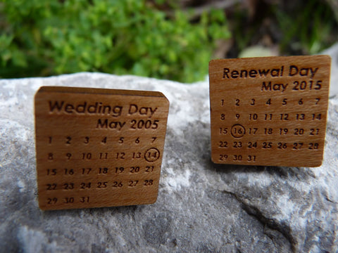 Wedding date & Wedding renewal date cufflinks