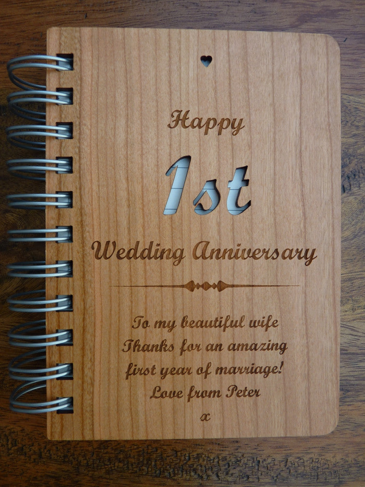 Personalised Wood 1st Wedding Anniversary Journal