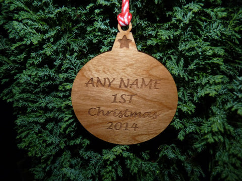 Personalised wooden Christmas Bauble decoration