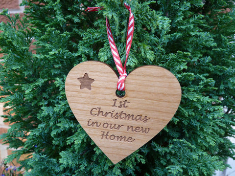 Personalised wooden Heart Christmas decorations