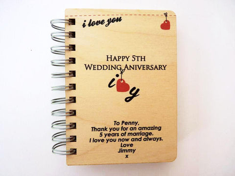 5th wedding anniversary notebook