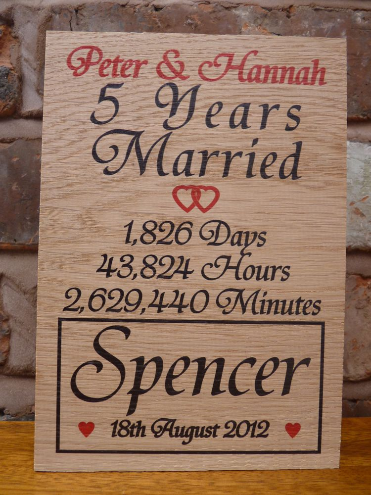 5th Wedding Anniversary Gift.Personalised 5th Wedding Anniversary Oak Sign Personalised Gifts