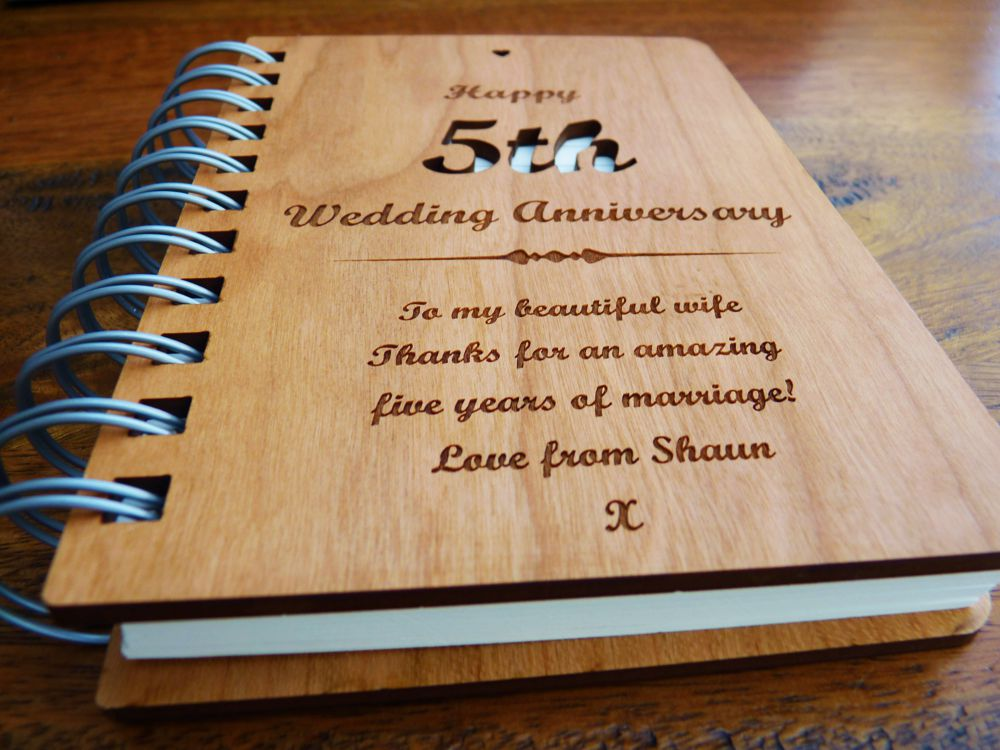 Personalised Wooden 8th Wedding Anniversary Journal