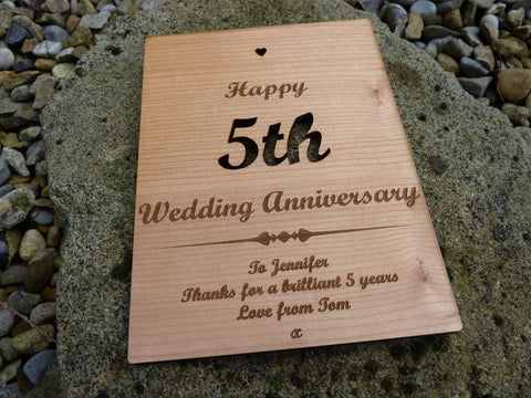 Wooden th wedding anniversary card u personalised gifts
