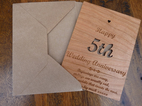 Wooden 5th Wedding Anniversary Card