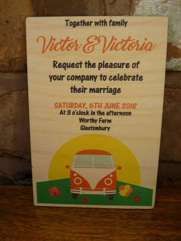 Campervan Wedding Invitations - Wooden invites