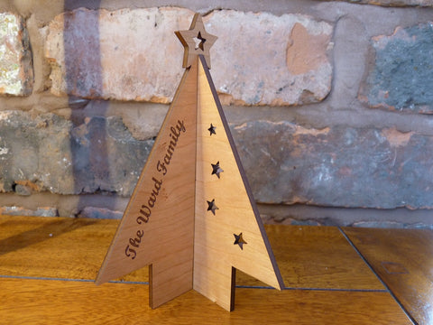 Christmas Tree Stand up wooden card decorations