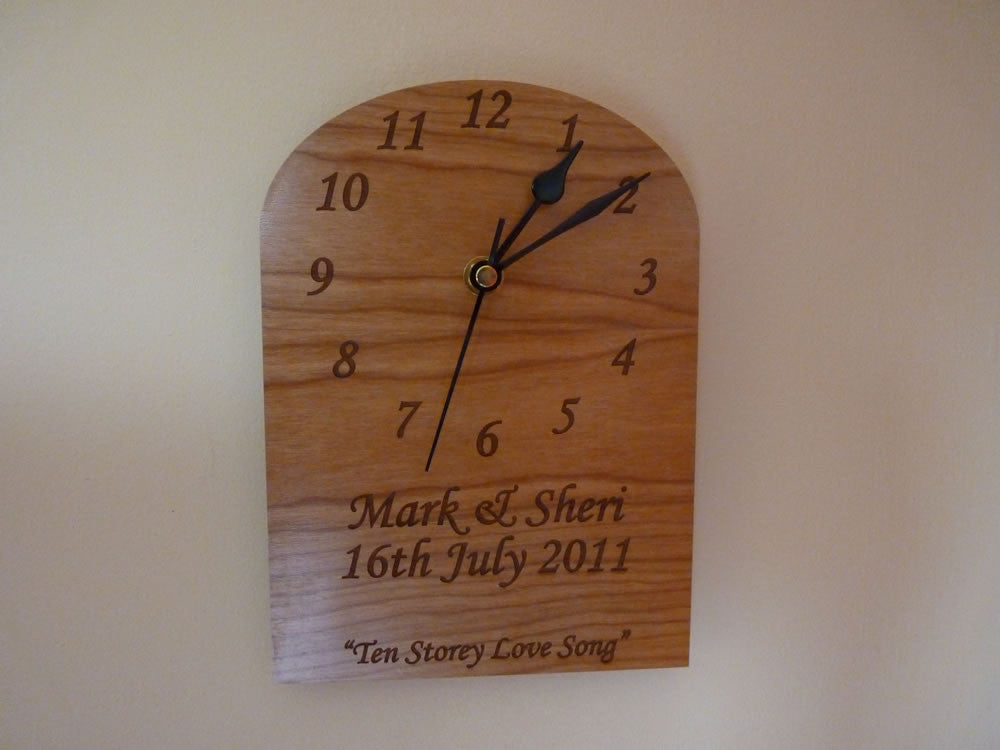Wedding Gift Clock: Wedding Dated Wooden Wall Clock