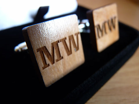 Personalised Initial wooden cufflinks