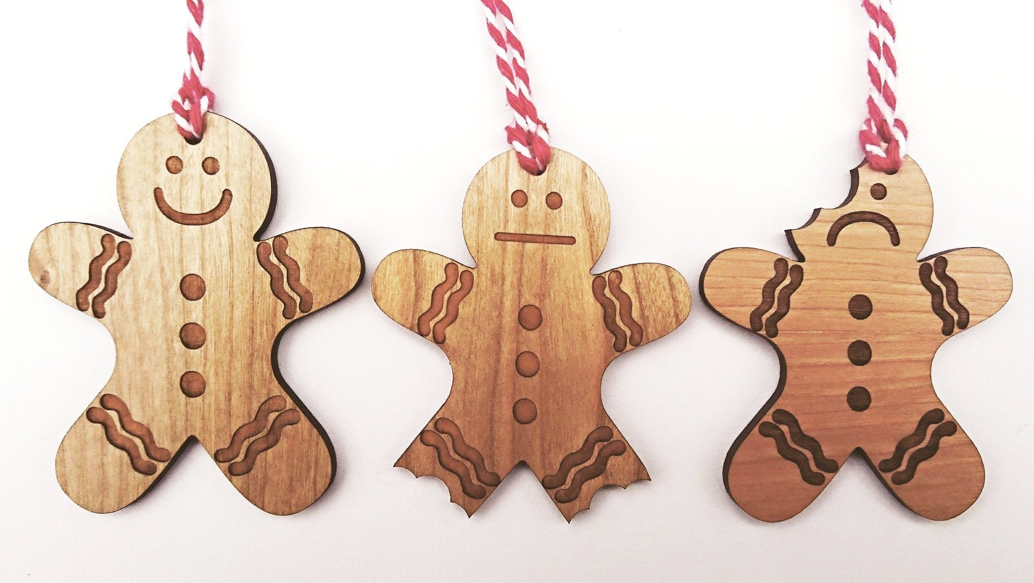 set of 3 gingerbread man christmas decorations