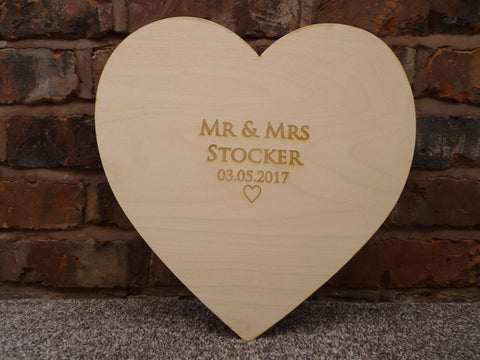 Wood Heart Signature Wedding Guest Board