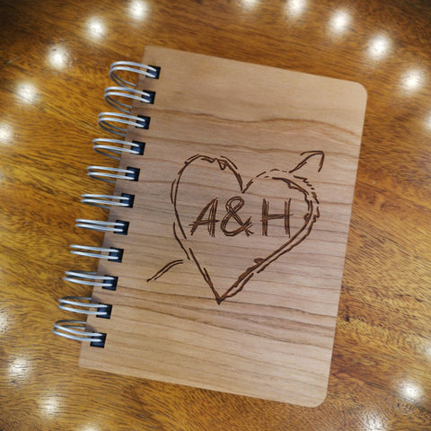 Initials & Heart Tree Carving wooden notebook