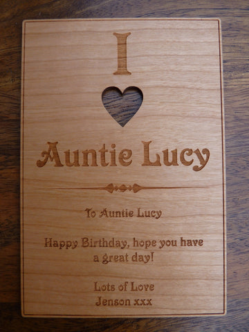 "I Love ""ANY NAME"" wooden card"