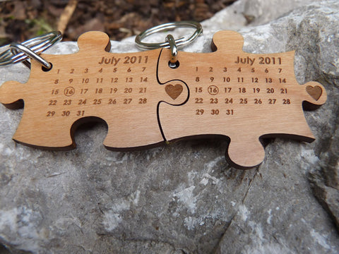 Pair of Wedding Date Keychains