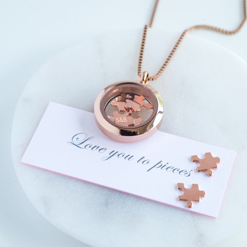"Rose Gold ""Love you to pieces"" necklace"