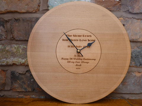 Personalised Wooden LP Record Clock