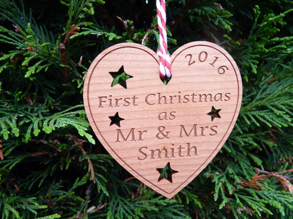 personalised first christmas as mr mrs decoration