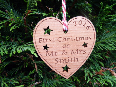 "Personalised ""First Christmas as Mr & Mrs"" decoration"