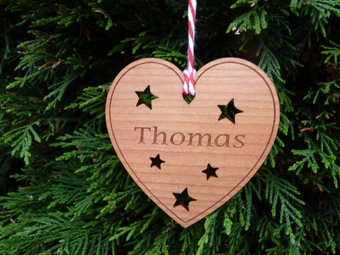 Personalised Wooden Heart Christmas Bauble